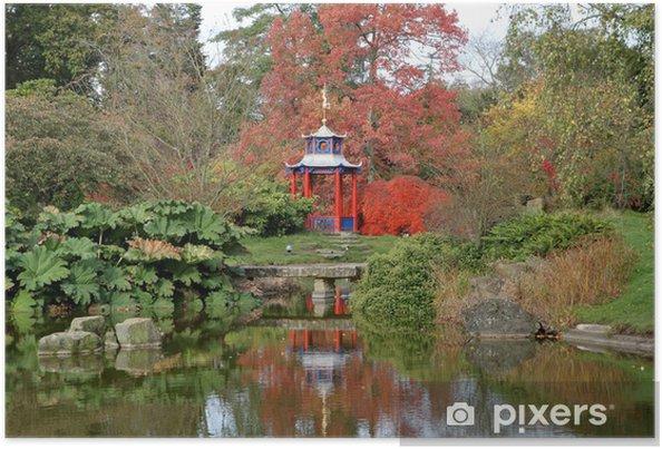 b7bb25f55c9 Efterår farver i en engelsk park med Gazebo og Pond Plakat • Pixers ...