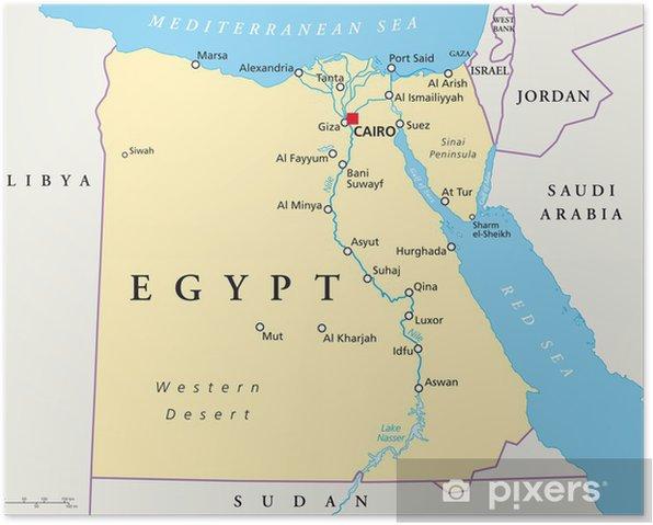Egypten Kort Agypten Landkarte Plakat Pixers Vi Lever For