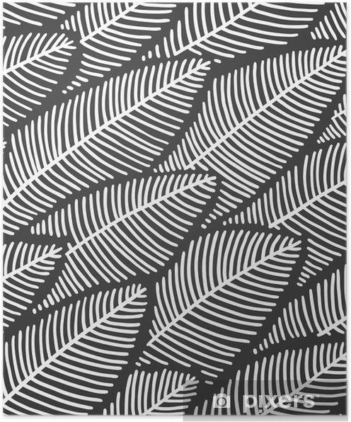 Plakat Elegante sømløse mønsterblader - Planter og Blomster