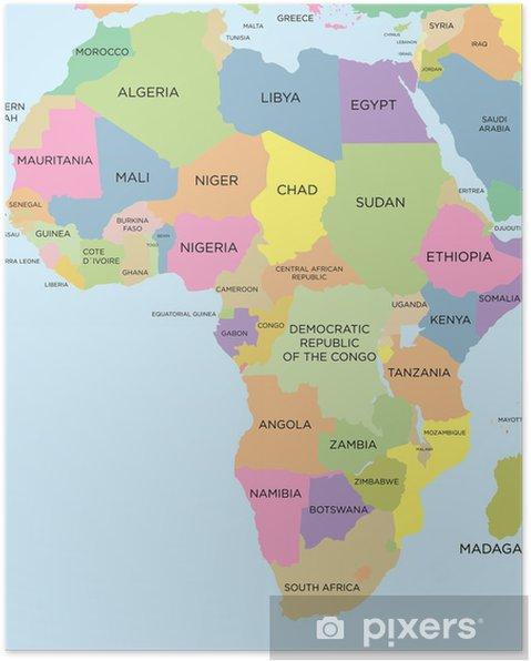 kart over afrika Plakat Farget politisk kart over Afrika • Pixers®   Vi lever for