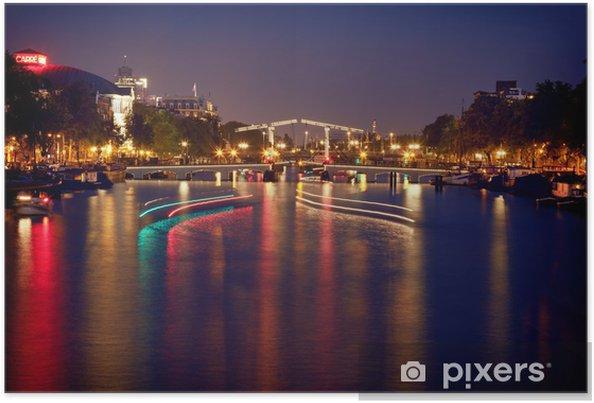 Farverig Refleksion af Magere Brug Bridge i Amsterdam om natten Plakat - Europæiske Byer