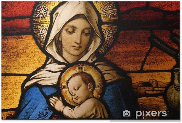 Farvet glas skildrer jomfru Maria, der holder baby Jesus Plakat -