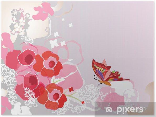 Floral romantisk baggrund Plakat - Blomster