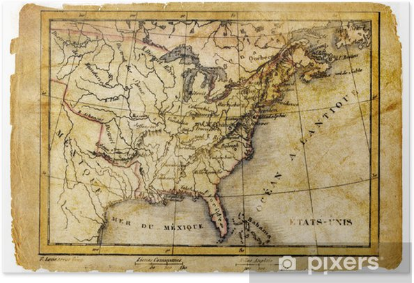 Gamle Kort Over Ostlige Usa Plakat Pixers Vi Lever For