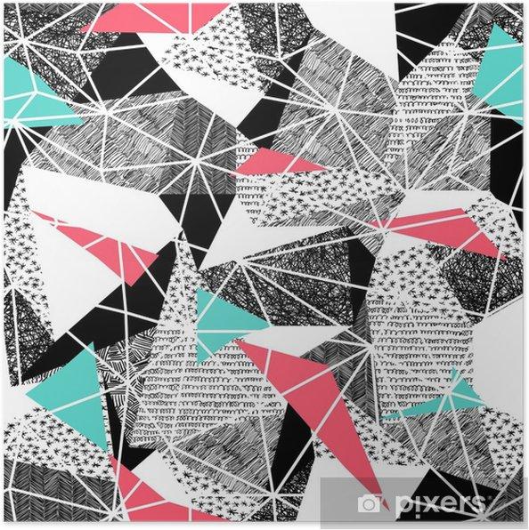 807eb093c7f Geometrisk sømløst mønster i retro stil. vintage background.triangles og  håndtegnede mønstre. lavt poly sømløst gentagelsesmønster. trekantede  facetter. ...