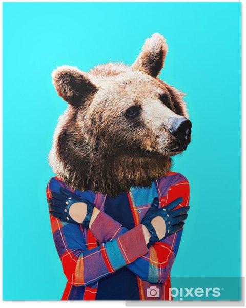 Plakat Hipster bjørn. minimal collagekunst. - Livsstil