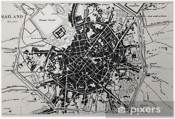 Historisk Kort Over Milano Italien Plakat Pixers Vi Lever