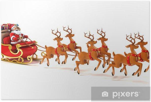 julemanden p sl de hjorte og julegaver plakat pixers. Black Bedroom Furniture Sets. Home Design Ideas