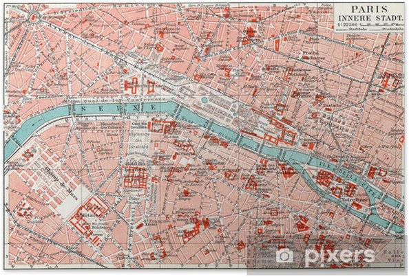 Kort Over Det Centrale Paris Plakat Pixers Vi Lever For