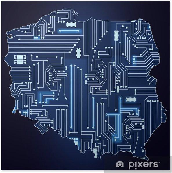 Kort Over Polen Med Elektronisk Kredslob Plakat Pixers Vi