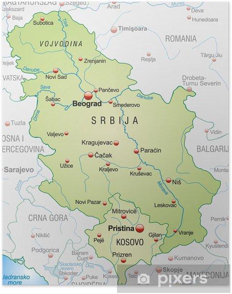 Kort Over Serbien Med Nabolande Og Hovedstaeder Plakat Pixers