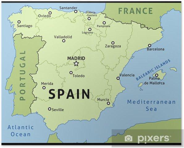 Kort Over Spanien Vektor Illustration Plakat Pixers Vi