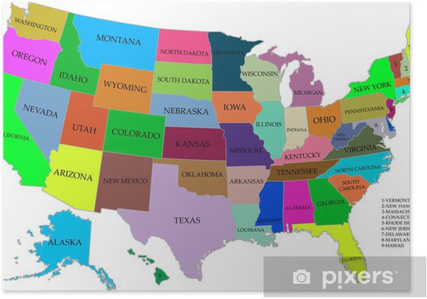 Kort Over Usa Med Stater Plakat Pixers Vi Lever For Forandringer