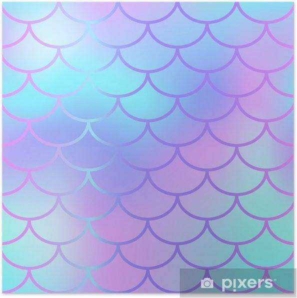 5d6db116 Plakat Kule blå fisk skala mønster vektor tekstur. havfrue sømløs mønster  fliser. - Grafiske