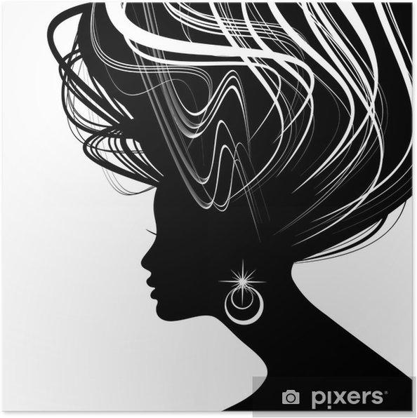 2ef2fc12522 Kvinde ansigt silhuet med bølget hår Plakat • Pixers® - Vi lever for ...