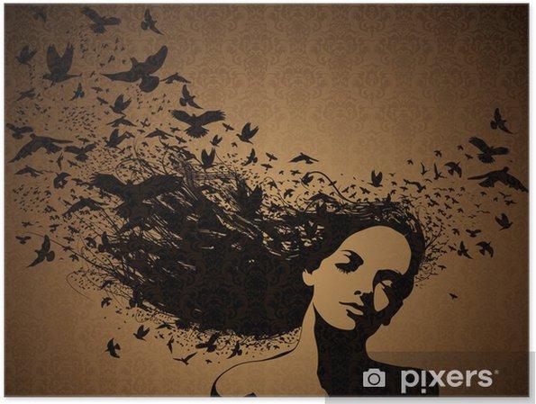 a278fc150f3 Kvinde med fugle, der flyver fra hendes hår. Plakat • Pixers® - Vi ...