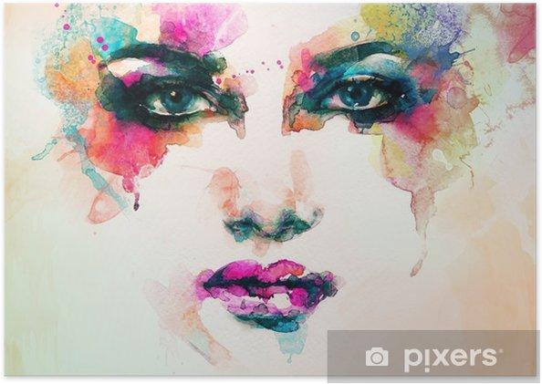 Kvinde portræt. abstrakt akvarel. mode baggrund Plakat - Mennesker