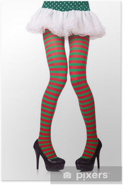 27127531b Plakat Kvinneben i stripete strømper på hvit