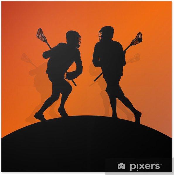 Plakat Lacrosse spillere aktive menn sport silhuetter bakgrunn illustrere - Andre Følelser
