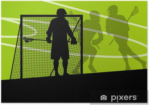 Plakat Lacrosse spillere aktive sports silhuetter bakgrunn illustrerer - Andre Følelser