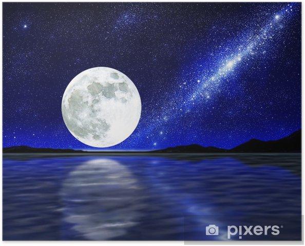 Måne over vand Plakat -