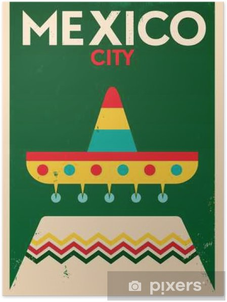 Mexico Vintage Poster Design Plakat - Bygninger og Arkitektur