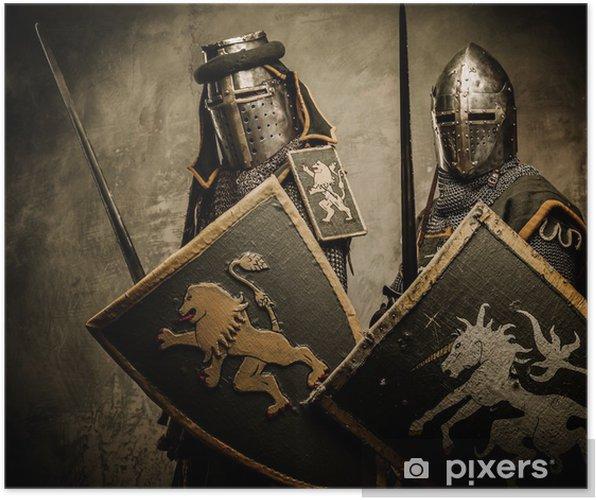 Plakat Middelaldrende riddere på grå bakgrunn. - Knights