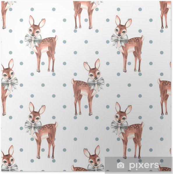 fc9272d4 Plakat Mønster med baby hjort. søte fawns. sømløs bakgrunn 1 - Grafiske  Ressurser