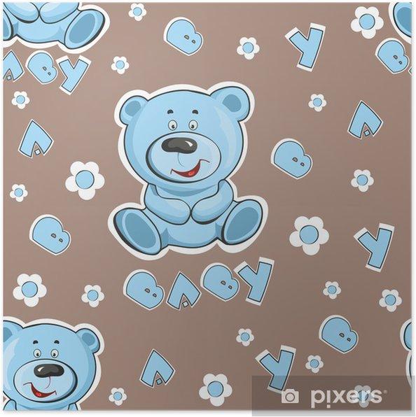 2f52f9af Plakat Mønster med en bamse på en blå bakgrunn • Pixers® - Vi lever ...