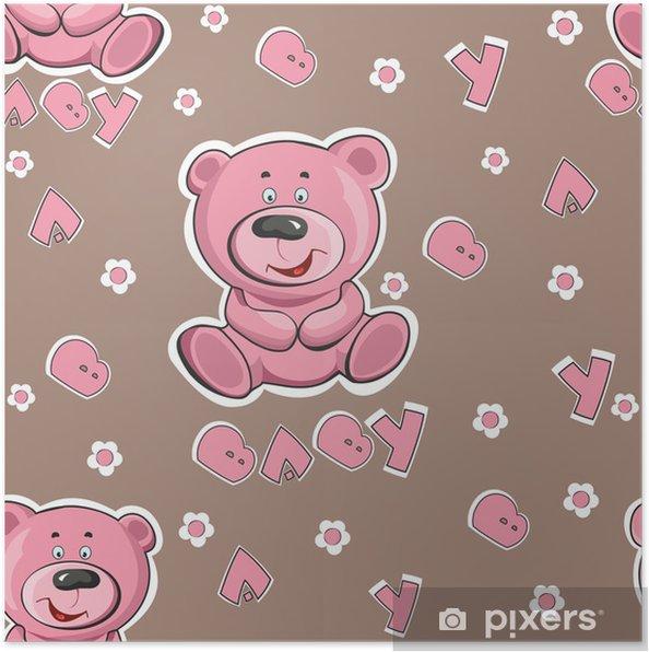 e787cceb Plakat Mønster med en bamse på en rosa bakgrunn • Pixers® - Vi lever ...