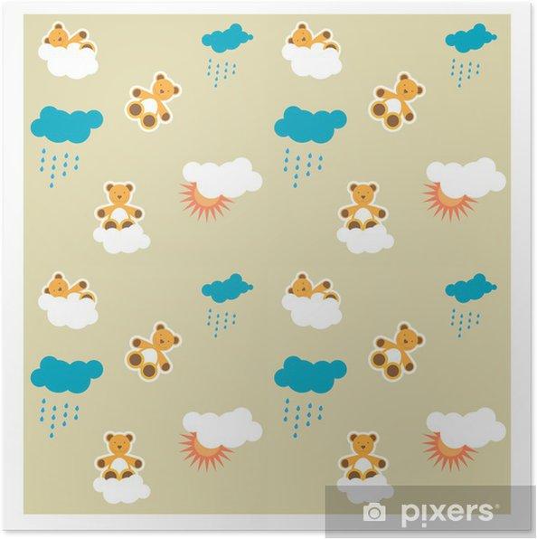 687bd5e9 Plakat Mønster, sømløs baby bakgrunn med bamse • Pixers® - Vi lever ...
