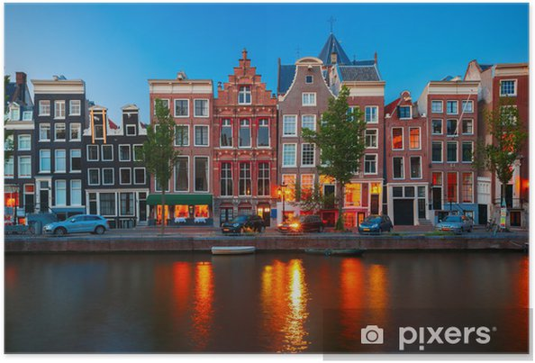 Night city view of Amsterdam canal with dutch houses Plakat -
