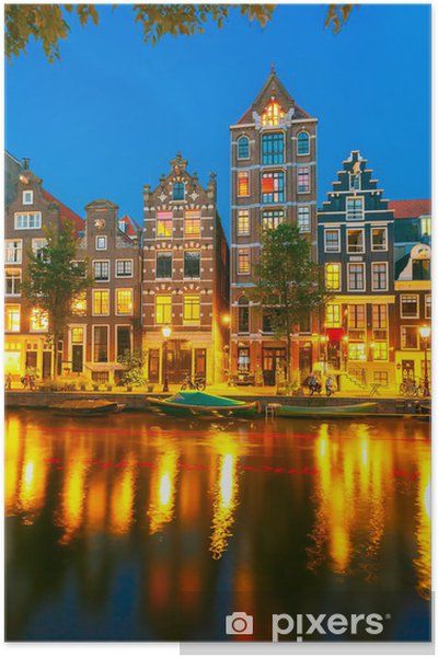 Night city view of Amsterdam canal with dutch houses Plakat - Europæiske Byer
