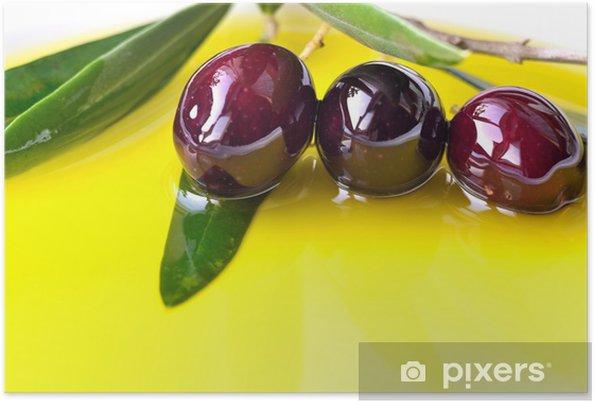 ea6f7570f Plakat Olivenolje bakgrunn med svart oliven nærbilde