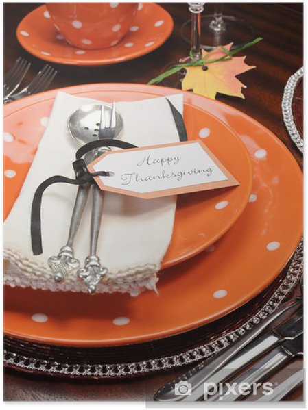 Orange polka dot Thanksgiving bordplacering sætter nærbillede Plakat - Nationale Begivenheder
