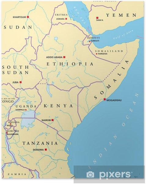 Ostafrika Kort Ostafrika Landkarte Plakat Pixers Vi Lever