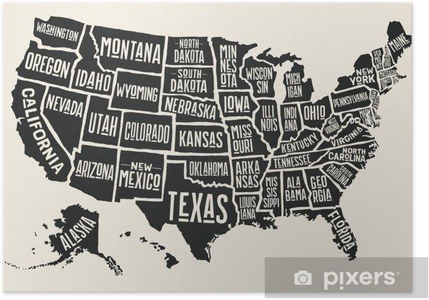 Plakat Kort Over Usa Med Statlige Navne Sort Hvid Print Kort