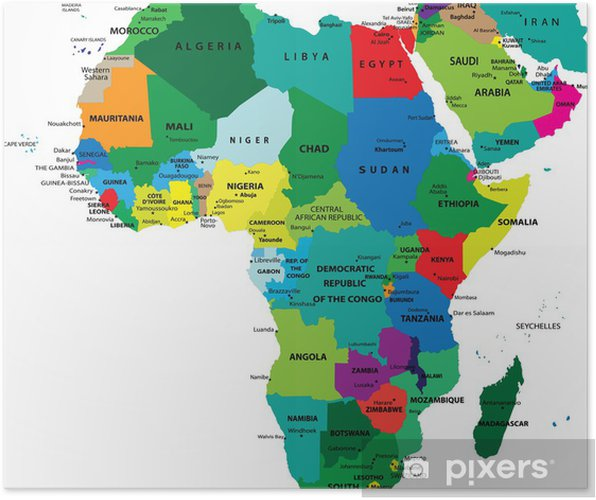 kart over afrika Plakat Politisk kart over Afrika • Pixers®   Vi lever for forandring