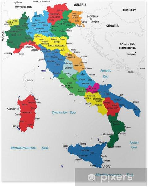 Politisk Kort Over Italien Plakat Pixers Vi Lever For