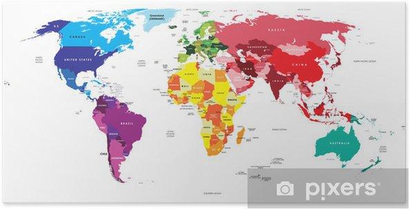 Politisk kort over verden Plakat -