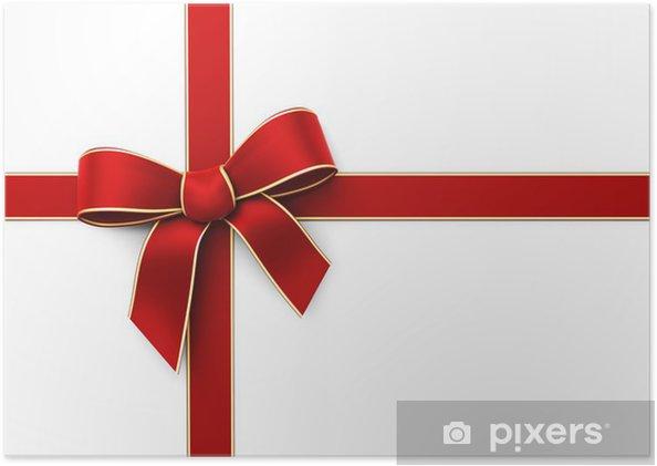 Folkekære Plakat Present innpakket med rød silke bånd • Pixers® - Vi lever LA-71