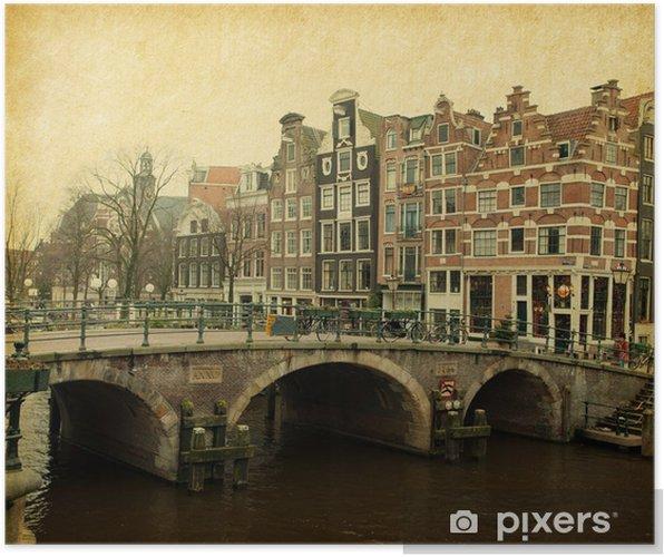 Prinsengracht Canal, Amsterdam, Holland. Papir tekstur. Plakat - Europa