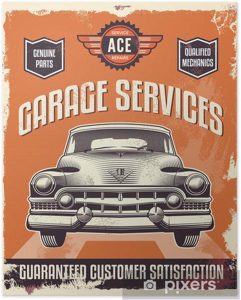 Højmoderne Retro vintage tegn - Reklame plakat - Classic bil - garage Plakat IN-53