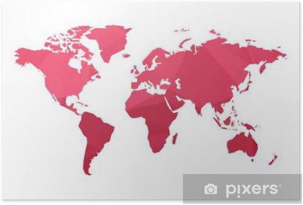 Rod Lav Poly Verden Kort Vektor Plakat Pixers Vi Lever For