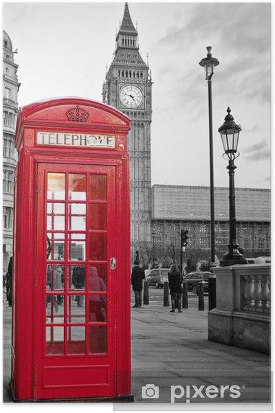 Plakat Rød telefonkiosk i London med Big Ben i svart og hvitt -