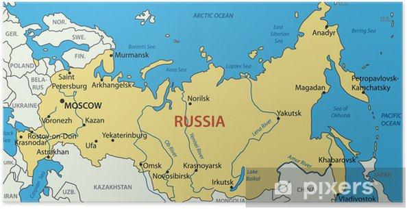 russland kart Plakat Russland   vektor kart • Pixers®   Vi lever for forandring