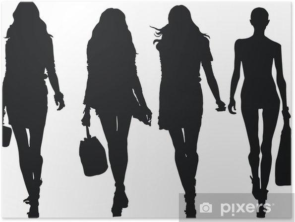 42347ddc48b Sæt af elegante, stiliserede mode modeller figur Plakat • Pixers ...