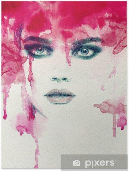 Smuk kvinde. akvarel illustration Plakat - Mennesker