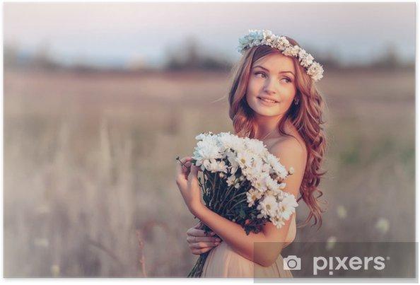 3e444e07a82b Smuk pige i en kamille krans Plakat • Pixers® - Vi lever for ...