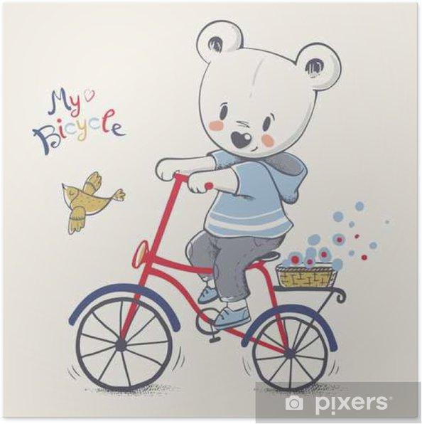 Sod Lille Bjorn Riding En Cykel Tegneserie Handtegnet Vektor